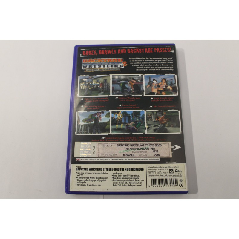 PS2 BACKYARD WRESTLING 2: THERE GOES THE NEIGHBORHOOD