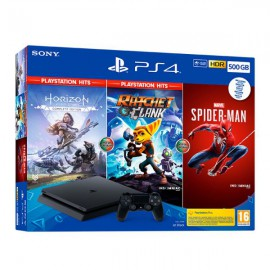 PS4 CONSOLA SLIM 500GB + HORIZON ZERO DAWN + RATCHET & CLANK + SPIDER-MAN