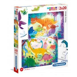 PUZZLE FUNNY DINOS 2X20