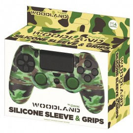 PS4 CAPA SILICONE + GRIPS WOODLAND FR-TEC