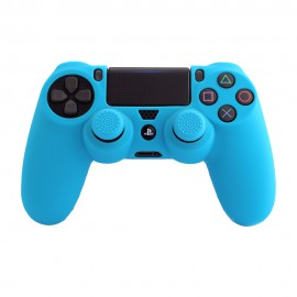 PS4 CAPA SILICONE + GRIPS BLUE FR-TEC